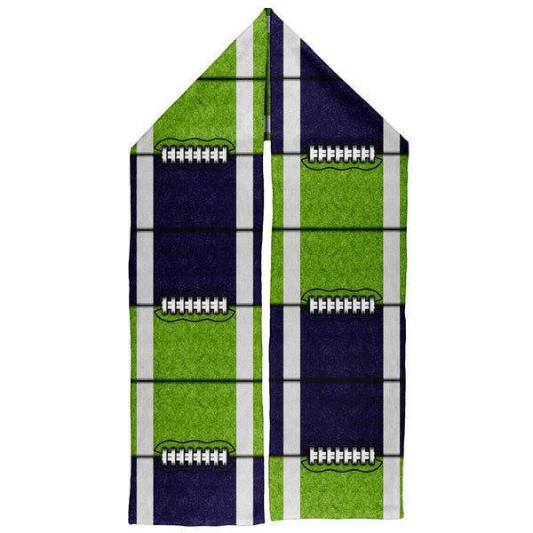 Fantasy Football Team Navy and Electric Green Warm Fleece Scarf