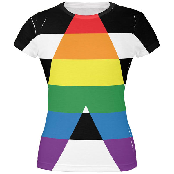 LGBT Straight Ally Pride Flag All Over Juniors T Shirt