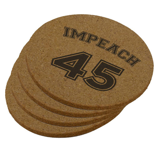 Impeach 45 45th President Donald Trump Round Cork Coaster (Set of 4)
