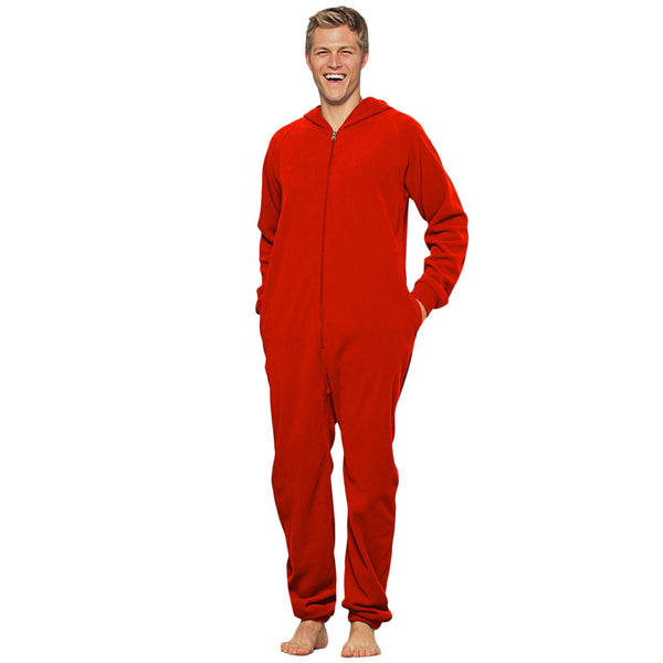 Adult Unisex One-Piece Fleece Pajamas with hood - front view