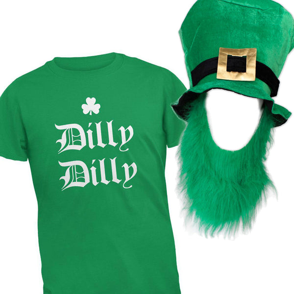 St. Patricks Day Dilly Dilly Shamrock Men's T Shirt with Hat and Beard Combo