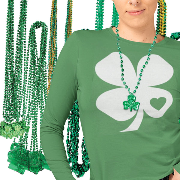 Women's Shamrock Heart T-Shirt and St. Patrick's Day Party Bead Selection
