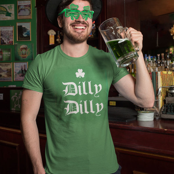 St. Patricks Day Dilly Dilly Shamrock Mens T Shirt and Shamrock Glasses Combo