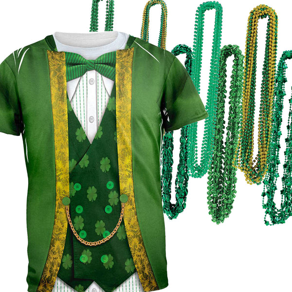 St. Patricks Day Leprechaun Costume All Over Adult T-Shirt and Bead Necklace Combo