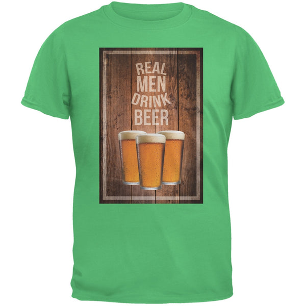 St. Patricks Day - Real Men Drink Beer Irish Green Adult T-Shirt