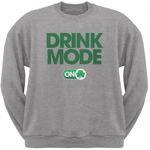 St. Patrick's Day - Drink Mode On Heather Grey Adult Sweatshirt