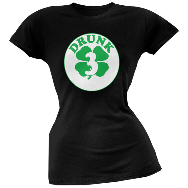 St. Patricks Day - Irish Drunk Three Black Juniors Soft T-Shirt