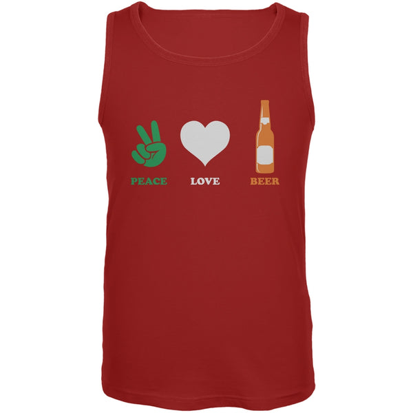 St. Patricks Day - Peace Love Beer Red Adult Tank Top