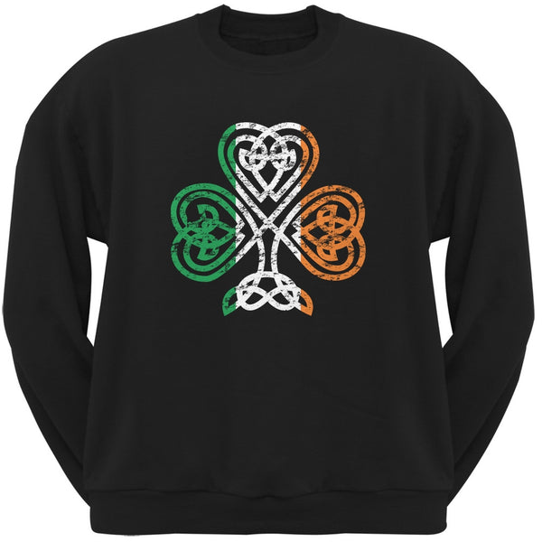 St. Patricks Day - Shamrock Knot Black Adult Sweatshirt