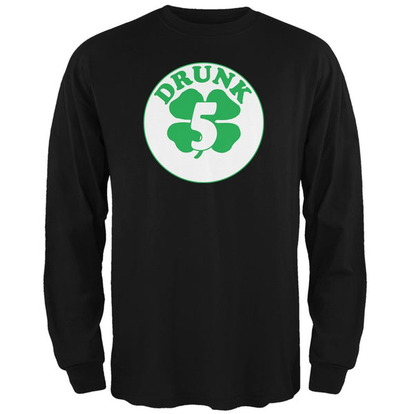 St. Patricks Day - Irish Drunk Five Black Adult Long Sleeve T-Shirt