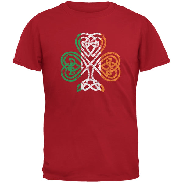 St. Patricks Day - Shamrock Knot Red Adult T-Shirt