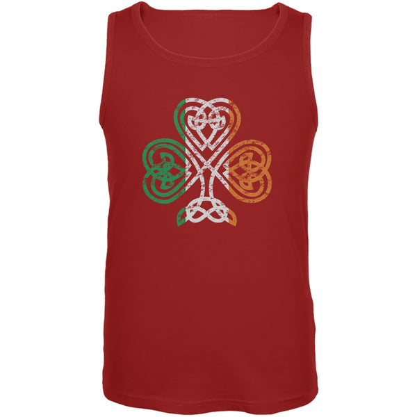 St. Patricks Day - Shamrock Knot Red Adult Tank Top
