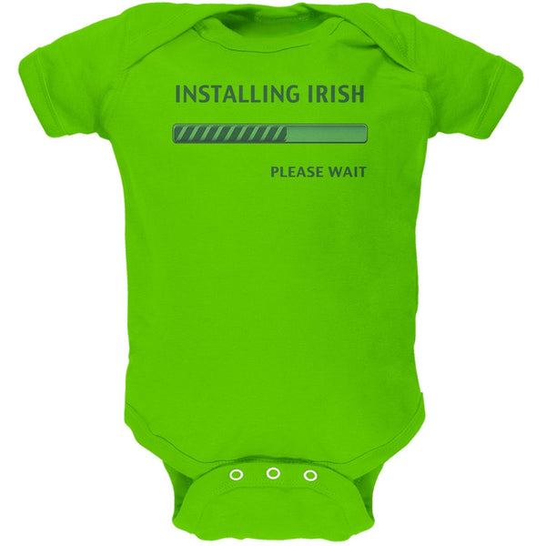 St. Patricks Day Installing Irish Funny Key Lime Green Soft Baby One Piece