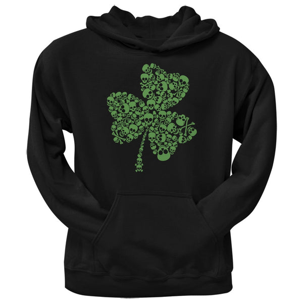 St. Patricks Day - Skull Shamrock Black Adult Hoodie