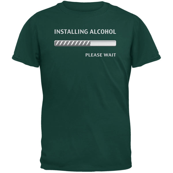 St. Patricks Day Installing Alcohol Funny Forest Green Adult T-Shirt