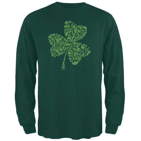 St. Patricks Day - Skull Shamrock Forest Green Adult Long Sleeve T-Shirt