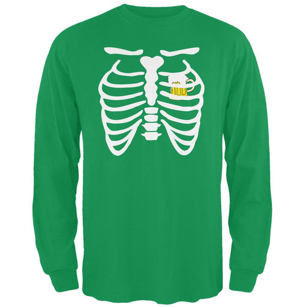 St. Patrick's Day - Beer Mug Heart Skeleton Irish Green Adult Long Sleeve T-Shirt