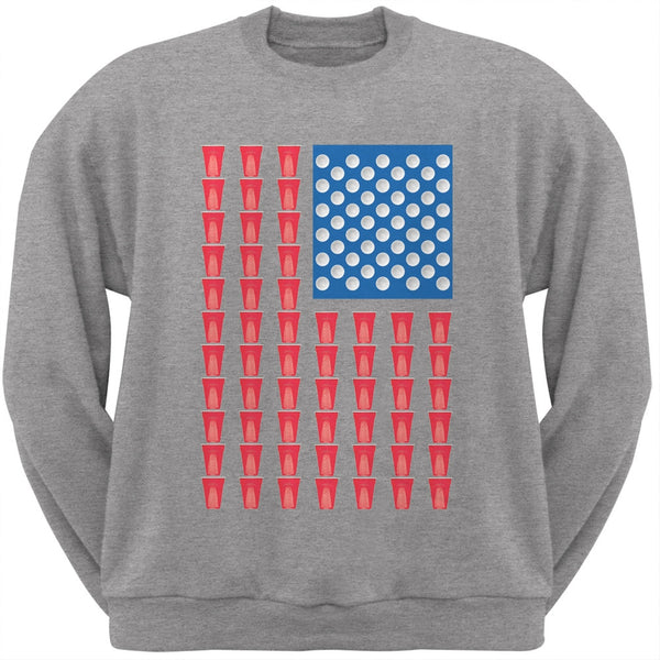 4th of July - American Flag Party Cups Heather Grey Adult Sweatshirt