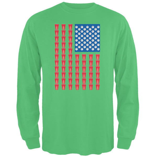 St. Patricks Day American Flag Party Cups Irish Green Adult Long Sleeve T-Shirt