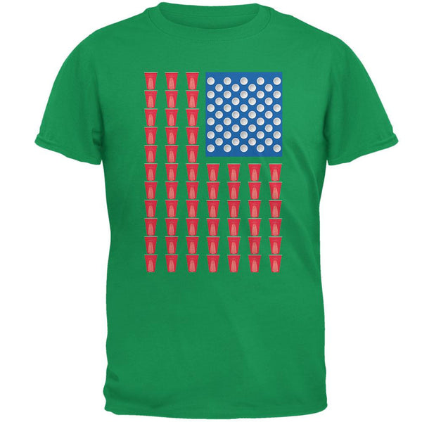 St. Patricks Day - American Flag Party Cups Irish Green Adult T-Shirt