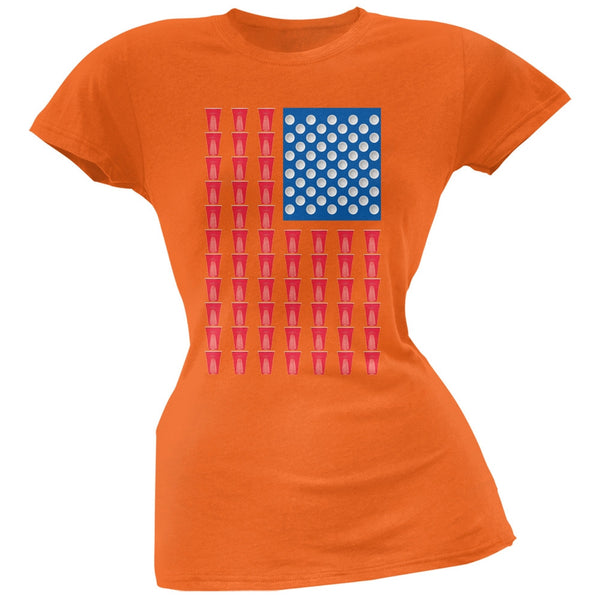 St. Patricks Day - American Flag Party Cups Orange Soft Juniors T-Shirt