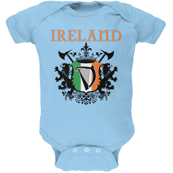 St. Patricks Day - Heraldic Irish Harp Light Blue Soft Baby One Piece
