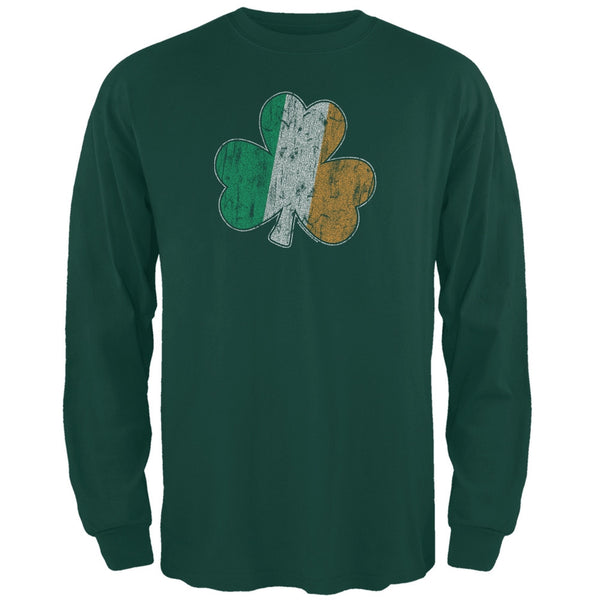 St. Patricks Day - Shamrock Flag Forest Green Adult Long Sleeve T-Shirt