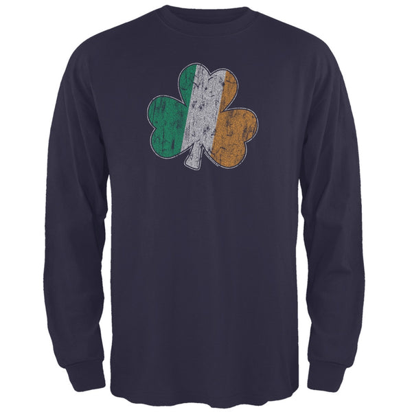 St. Patricks Day - Shamrock Flag Navy Adult Long Sleeve T-Shirt