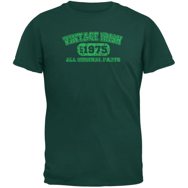 St. Patricks Day -  Vintage Irish 1975 Forest Green Adult T-Shirt
