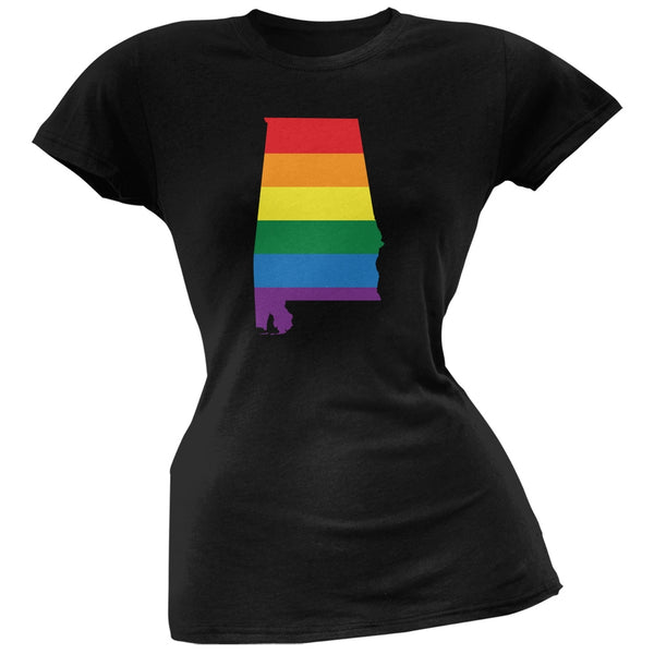 Alabama LGBT Lesbian Pride Rainbow Black Juniors Soft T-Shirt