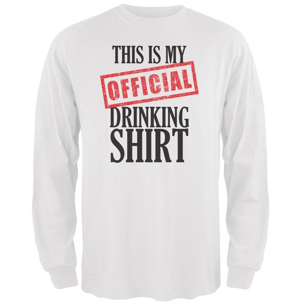 St. Patricks Day - Official Drinking Shirt White Adult Long Sleeve T-Shirt