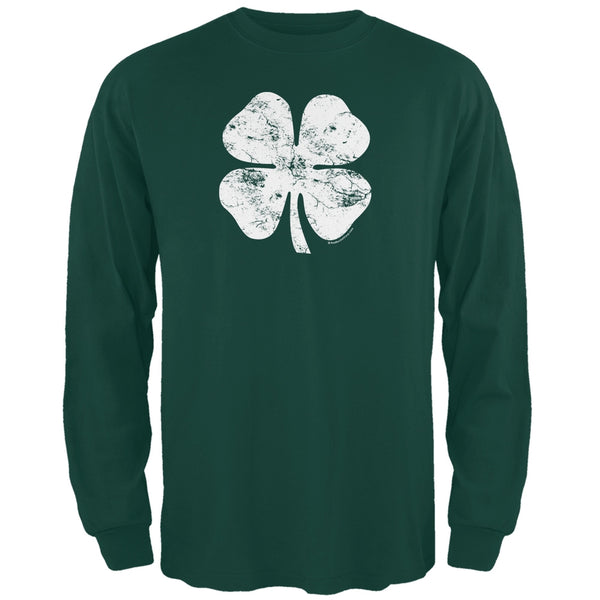St. Patricks Day - Distressed Shamrock Forest Adult Long Sleeve T-Shirt