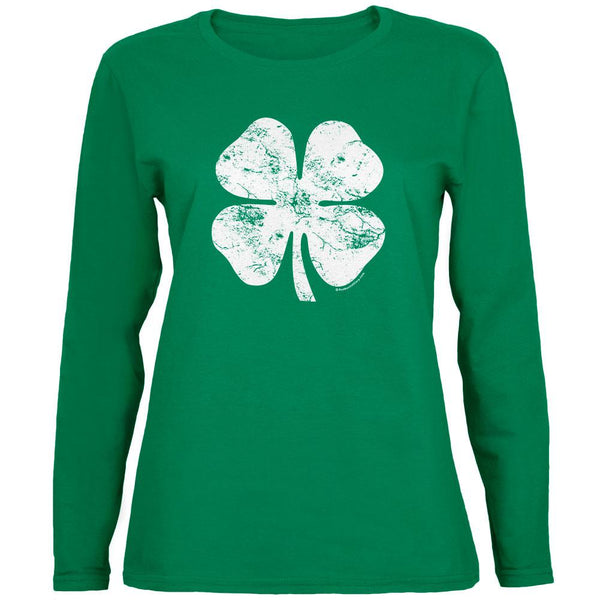 St. Patricks Day - Distressed Shamrock Green Ladies Long Sleeve T-Shirt