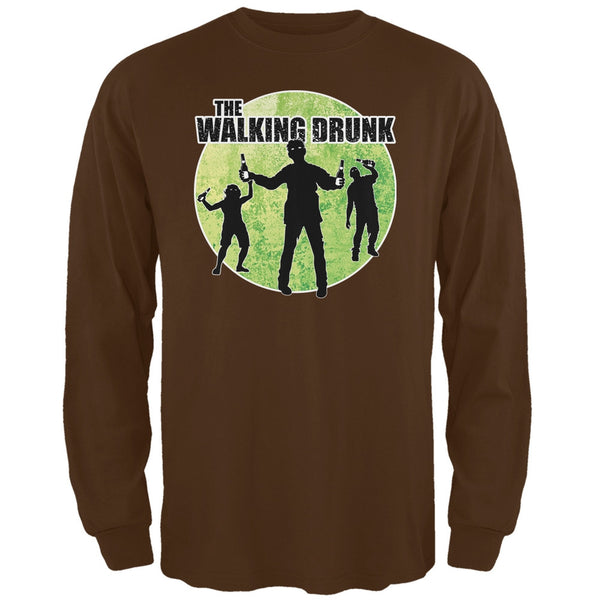 St. Patricks Day - The Walking Drunk Brown Adult Long Sleeve T-Shirt