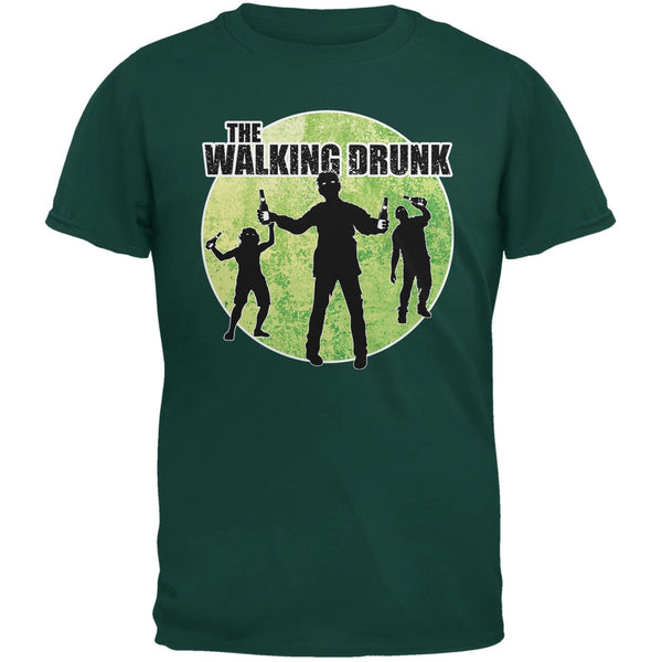 St. Patricks Day - The Walking Drunk Forest Greeen Adult T-Shirt