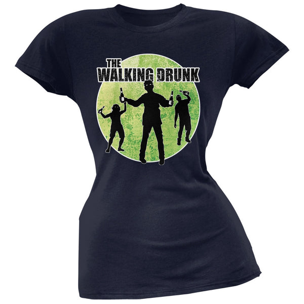 St. Patricks Day - The Walking Drunk Navy Soft Juniors T-Shirt