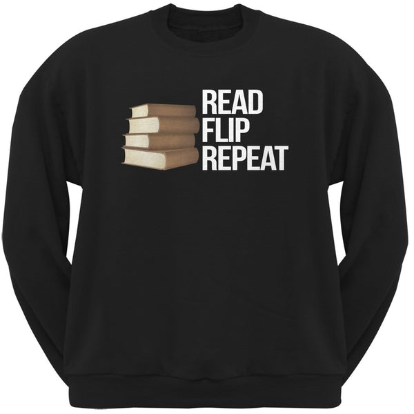 Read, Flip, Repeat Black Adult Sweatshirt
