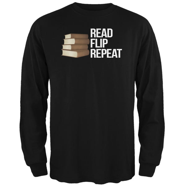 Read, Flip, Repeat Black Adult Long Sleeve T-Shirt