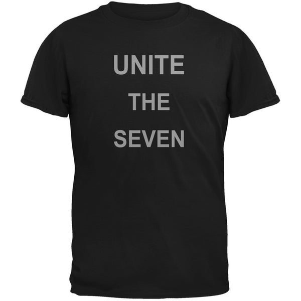Unite the Seven Super Hero Geek Black Adult T-Shirt
