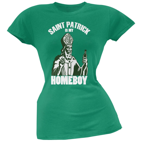 St. Patricks Day - St Patrick Is My Homeboy Kelly Green Soft Juniors T-Shirt