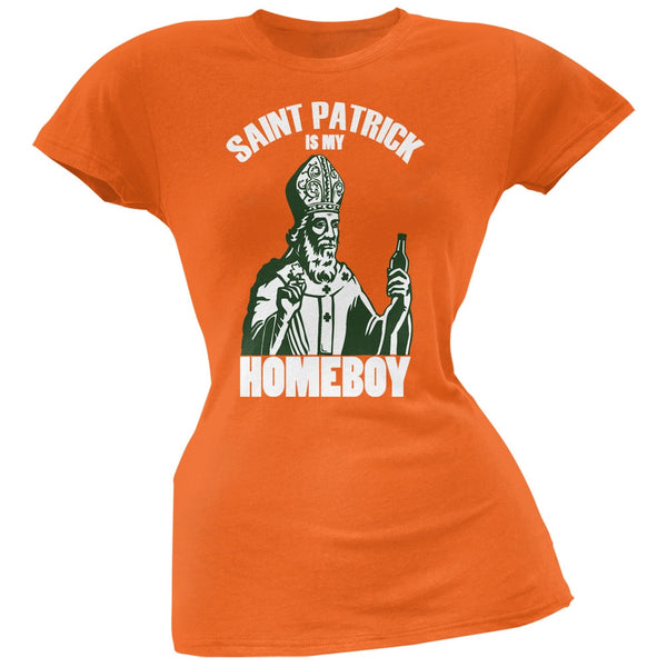 St. Patricks Day - St Patrick Is My Homeboy Orange Soft Juniors T-Shirt