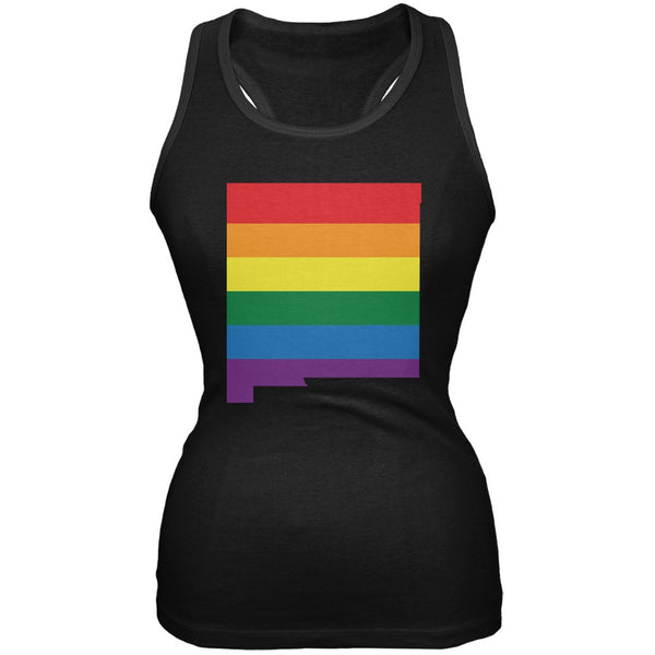 New Mexico LGBT Lesbian Pride Rainbow Black Juniors Soft Tank Top