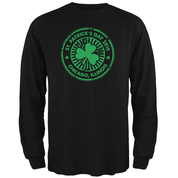 St. Patrick's Day - Chicago IL Black Adult Long Sleeve T-Shirt