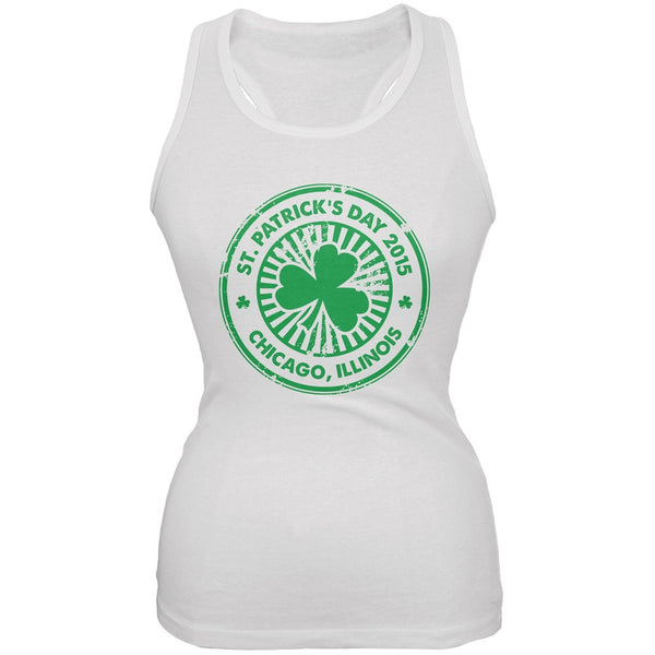 St. Patrick's Day - Chicago IL White Juniors Soft Tank Top