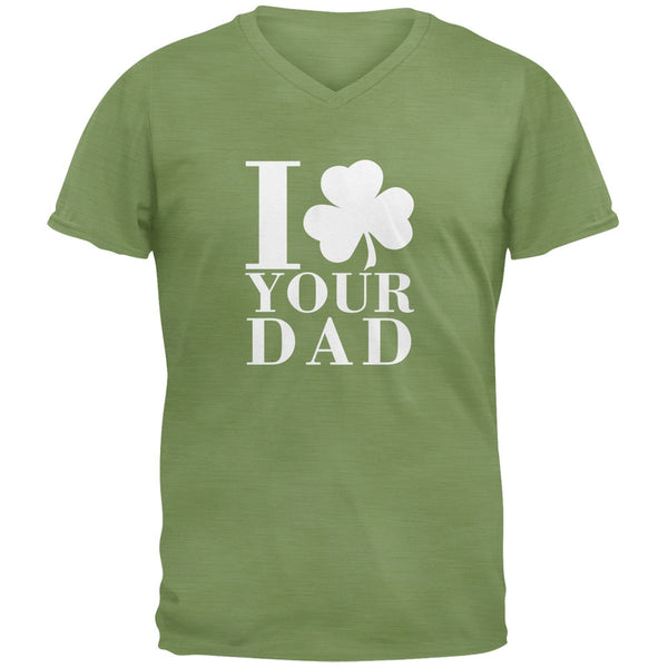 St Patricks Day - Shamrock Love Your Dad Green Adult V-Neck T-Shirt