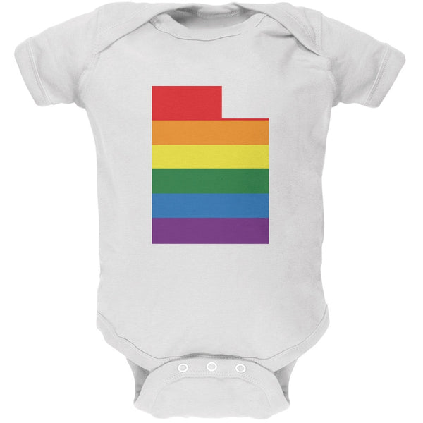 Utah LGBT Gay Pride Rainbow White Soft Baby One Piece