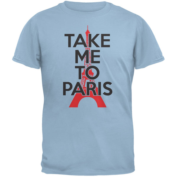 Take Me To Paris Light Blue Adult T-Shirt