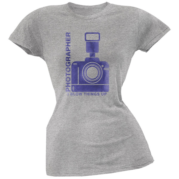 Photographer Blow Things Up Funny Heather Grey Juniors Soft T-Shirt