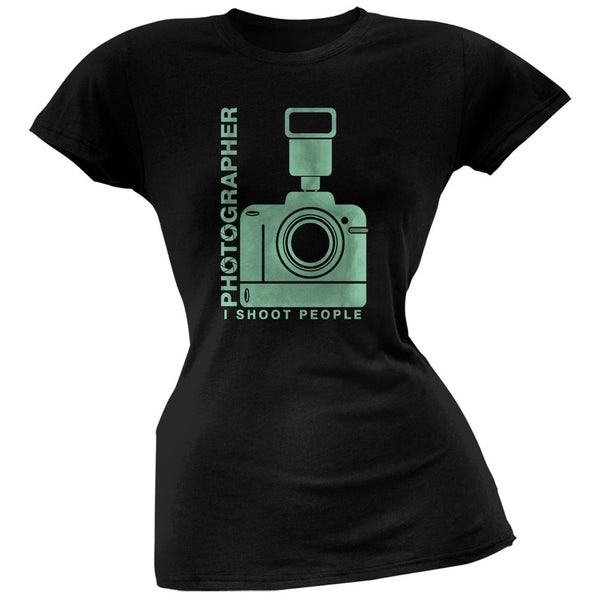 Photographer Shoot People Funny Black Juniors Soft T-Shirt