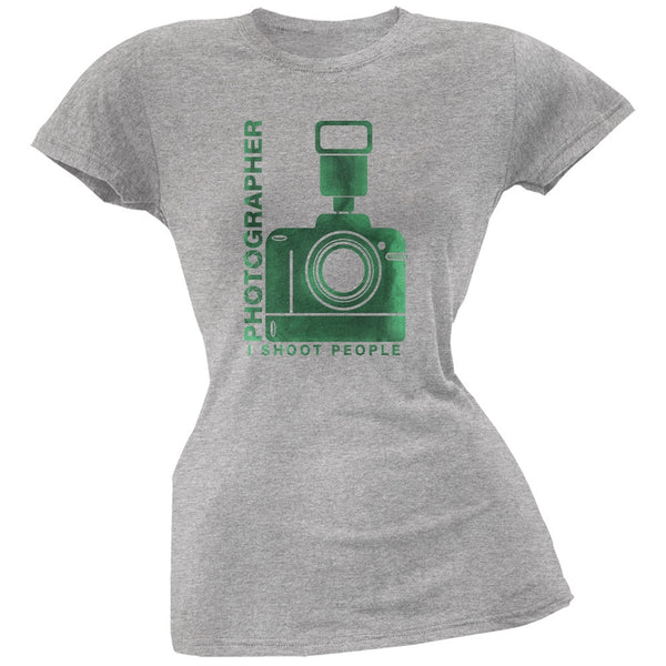 Photographer Shoot People Funny Heather Grey Juniors Soft T-Shirt